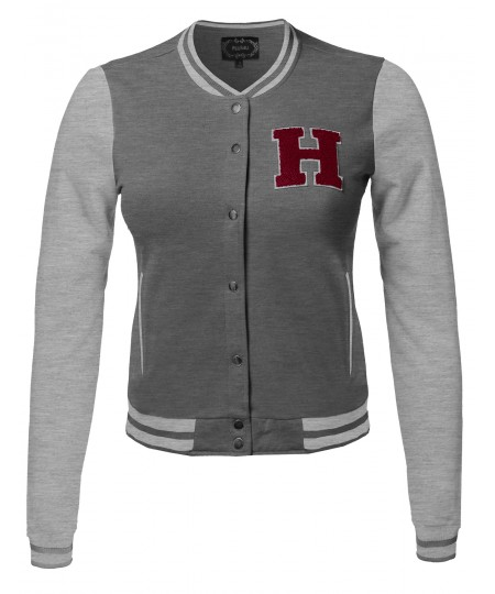 Women's Color Contrast Patch Detailed Baseball Varsity College Jacket