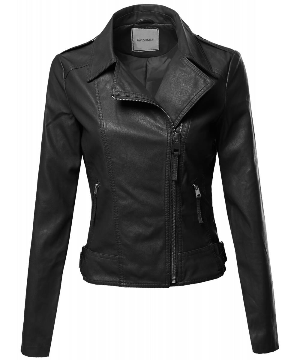 Women S Classic Casual Cross Over Moto Biker Leather Jacket Coat