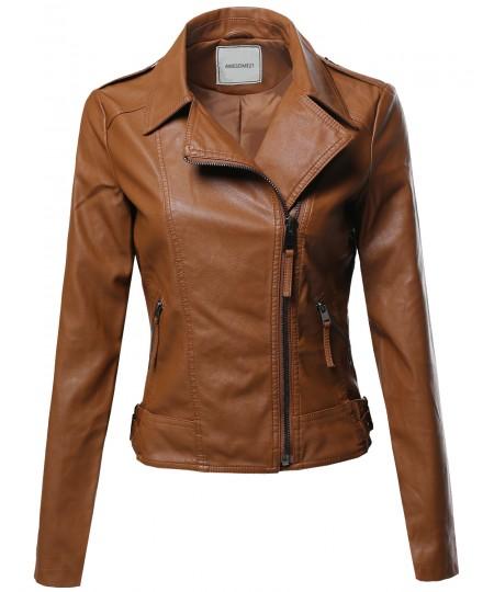 Women's Classic Faux Leather Biker Jacket Various Colors