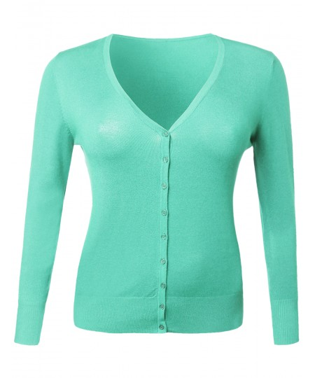 Women's Basic Casual Solid V Neck Sweater Plus Size Cardigan 1Xl-3Xl