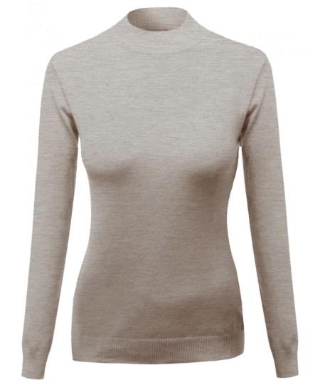 Women's Silky Mock Turtle Neck Long Sleeve Knit Top Sweater