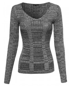 Women's Long Sleeve V-Neck Ribbed Marbled Sweater Top
