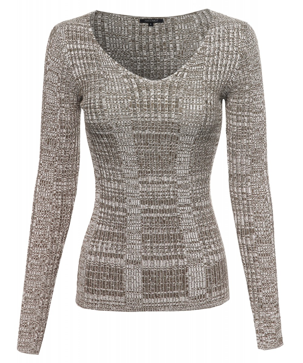 Women's Long Sleeve V-Neck Ribbed Marbled Sweater Top ...