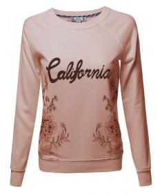 Women's Raglan Sweatshirt With Floral Graphic Prints