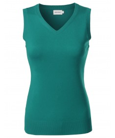 Women's VISCOSE Solid Office Soft Stretch Sleeveless Knit Vest Top
