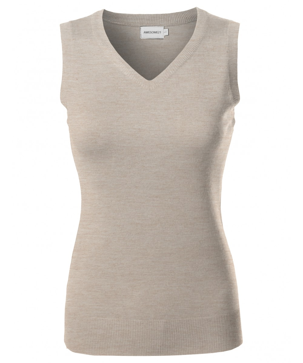 Womens VISCOSE Solid Office Soft Stretch Sleeveless Knit ...