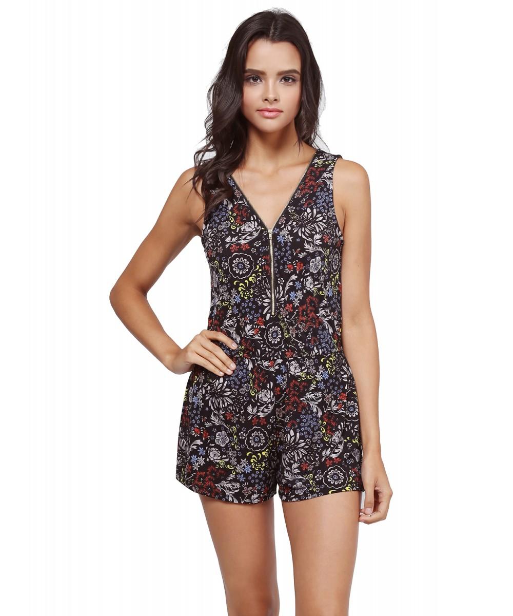 c6f598f7ff5 Women s Sleeveless Floral Paisley Print Zipper Romper Jumpsuit ...