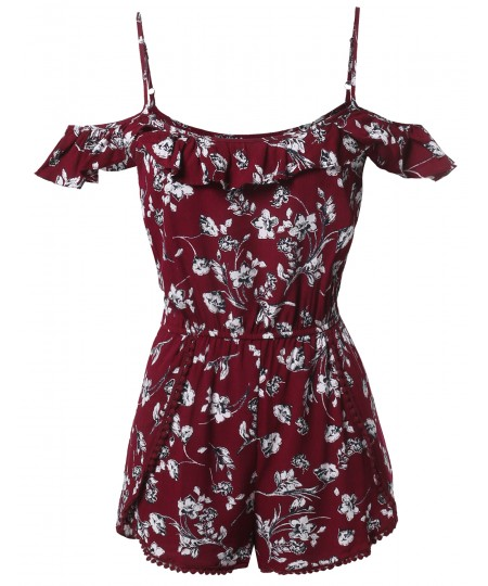 Women's Summer Ruffle Off-Shoulder Strap Floral Print Romper Jumpsuit