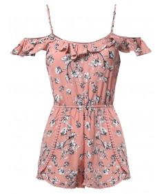 Women's Summer Ruffle Off-Shoulder Strap Floral Print Romper Jumpsuit