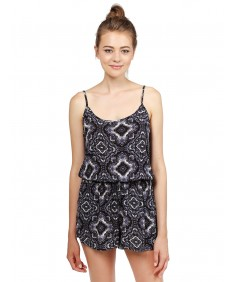 Women's Summer Off-Shoulder Strap Floral Print Overlay Romper Jumpsuit