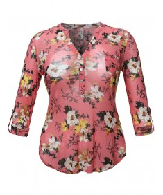 Women's Half Button Down Floral Print Blouse With 3/4 Sleeves