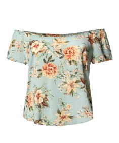 Women's Casual Loose Fit Floral Off Shoulder Short Sleeve Blouse Top Made in USA