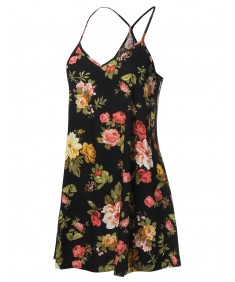 Women's Floral Print Sleeveless Flare Camisole Blouse Top