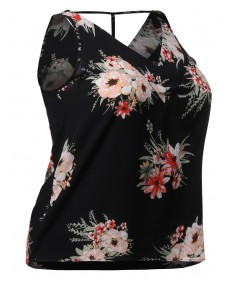 Women's Floral Print Sleeveless V-neckline Woven Chiffon Blouse Top