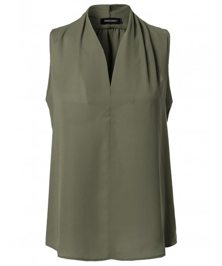 Women's Solid Chiffon High V-Neck Sleeveless Office Blouse Top Made in USA