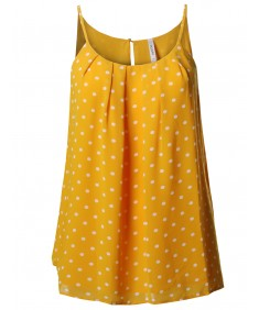 Women's Polka Dot Sleeveless Pleated Neck Woven Chiffon Blouse Top