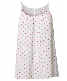 Women's Plus Size Polka Dot Keyhole Back Lined Chiffon Blouse Pleated Top