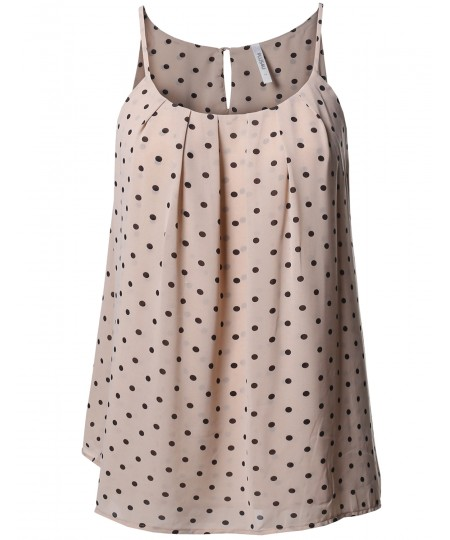 Women's Plus Size Polka Dot Keyhole Back Lined Chiffon Blouse Pleated Top