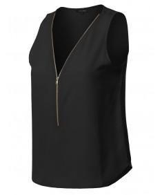 Women's Solid Sleeveless Chiffon Zipper Blouse Top (S-3XL)