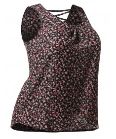 Women's Floral Print Sleeveless Woven Chiffon Blouse Top