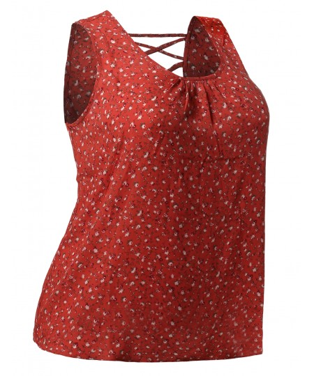 Women's Floral Print Sleeveless Woven Chiffon Blouse Top