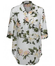 Women's Floral Henley Blouse Dress Shirt