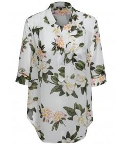 Women's Floral Henley Blouse Dress Shirt