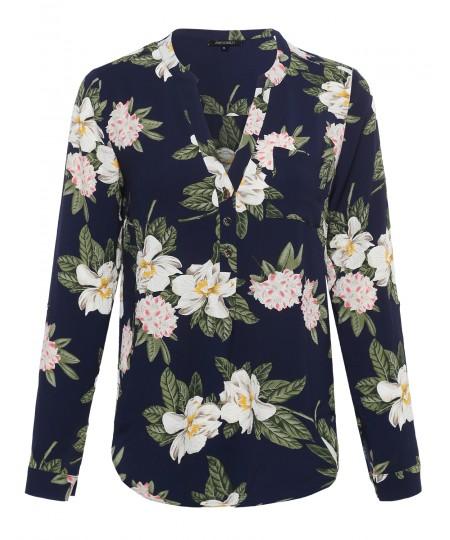 Women's Floral Henley Blouse Dress Shirt w/ Gold Buttons
