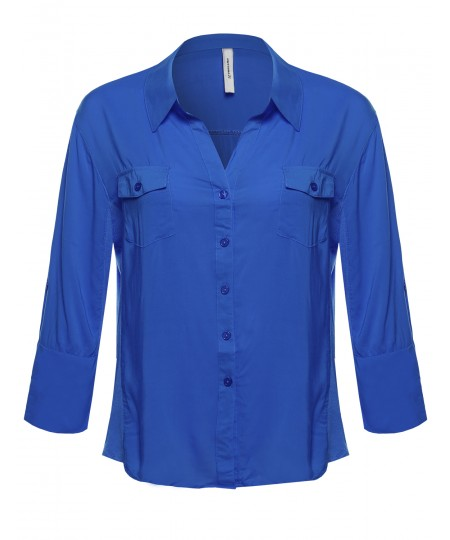 Women's Basic Button Down Blouse w/ Ribbed Sides