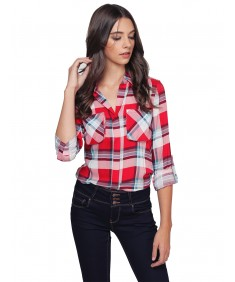 Women's Lightweight Plaid Button Up Shirt