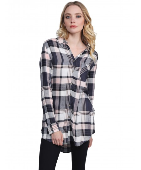 Women's Oversized Plaid Long Sleeve Button Up Tunic Top