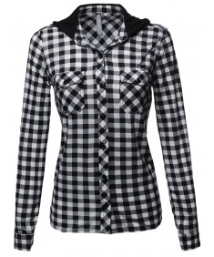 Women's Button Down Plaid Shirt With Hoodie