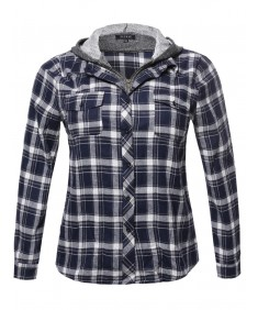 f731a5c9ff2 Women s Long Sleeve Undetachable Two Tone Terry Mixed Hoodie Plaid Shirt