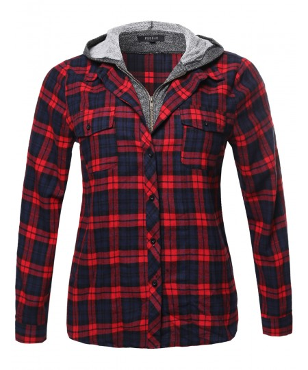 Women's Long Sleeve Undetachable Two Tone Terry Mixed Hoodie Plaid Shirt