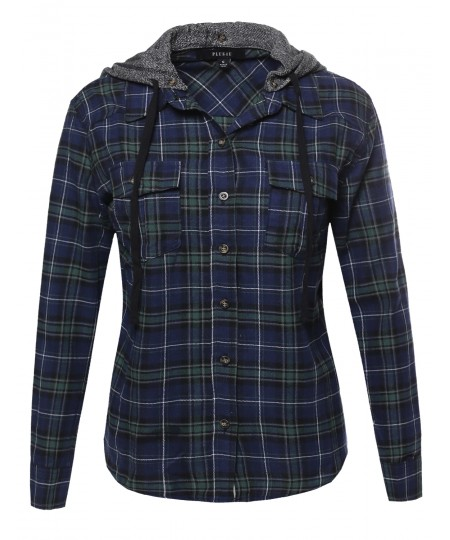 Women's Long Sleeve Detachable Two Tone Terry Hoodie Plaid Shirt