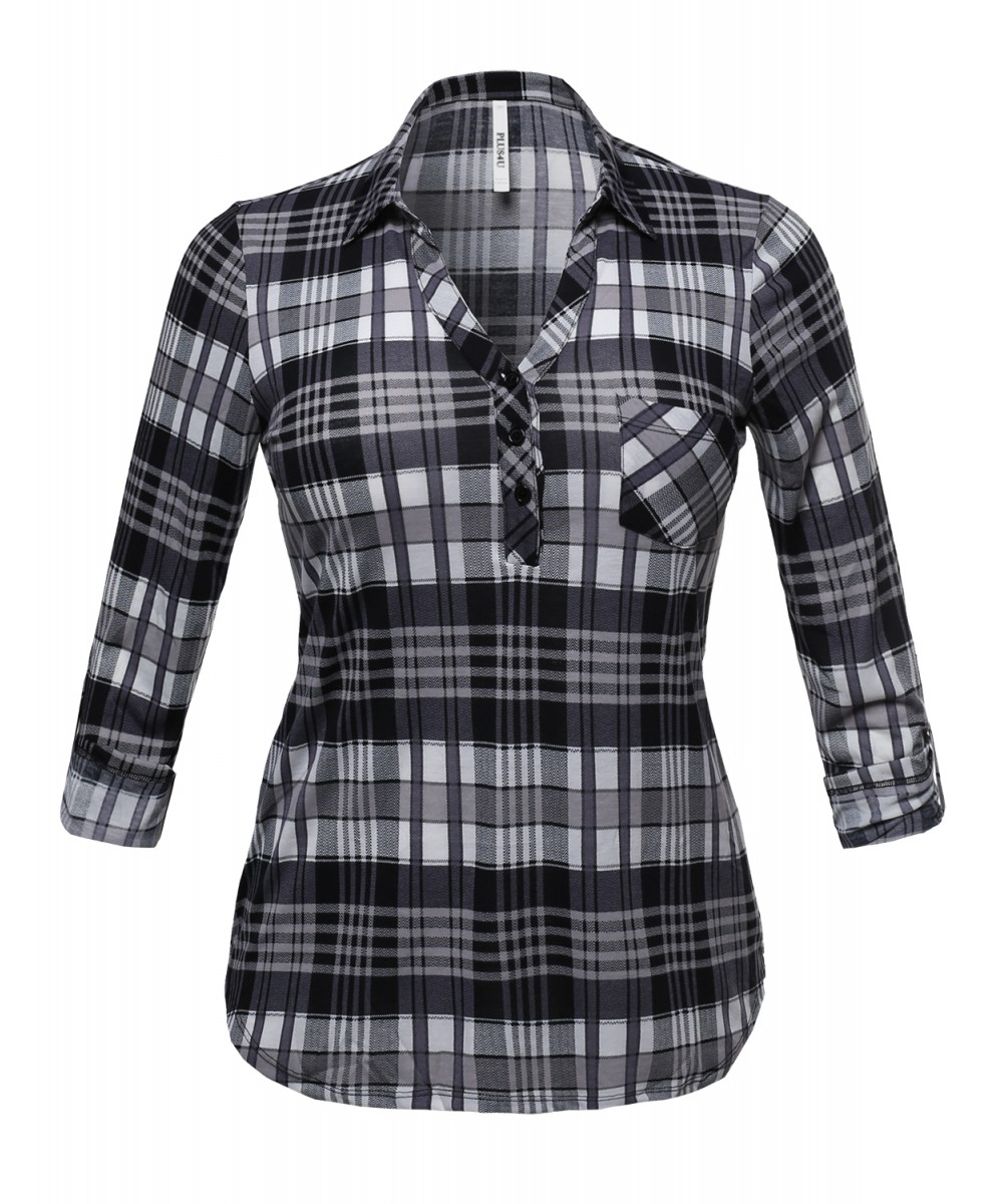 83711914 Women's Half Button Down Plaid Shirt With 3/4 Sleeves ...