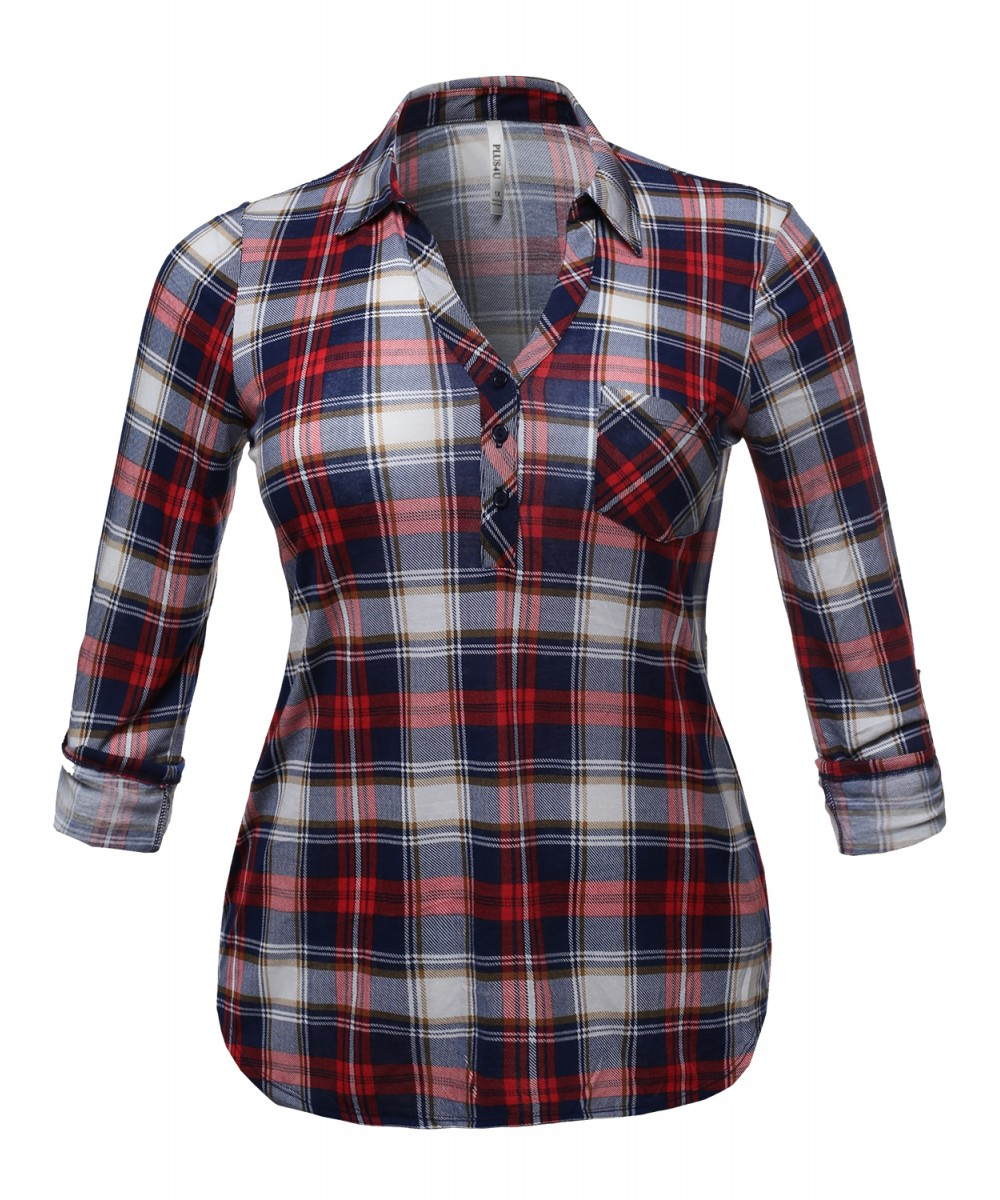 Women 39 s half button down plaid shirt with 3 4 sleeves for Plaid button down shirts for women