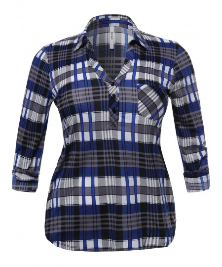 Women's Half Button Down Plaid Shirt With 3/4 Sleeves