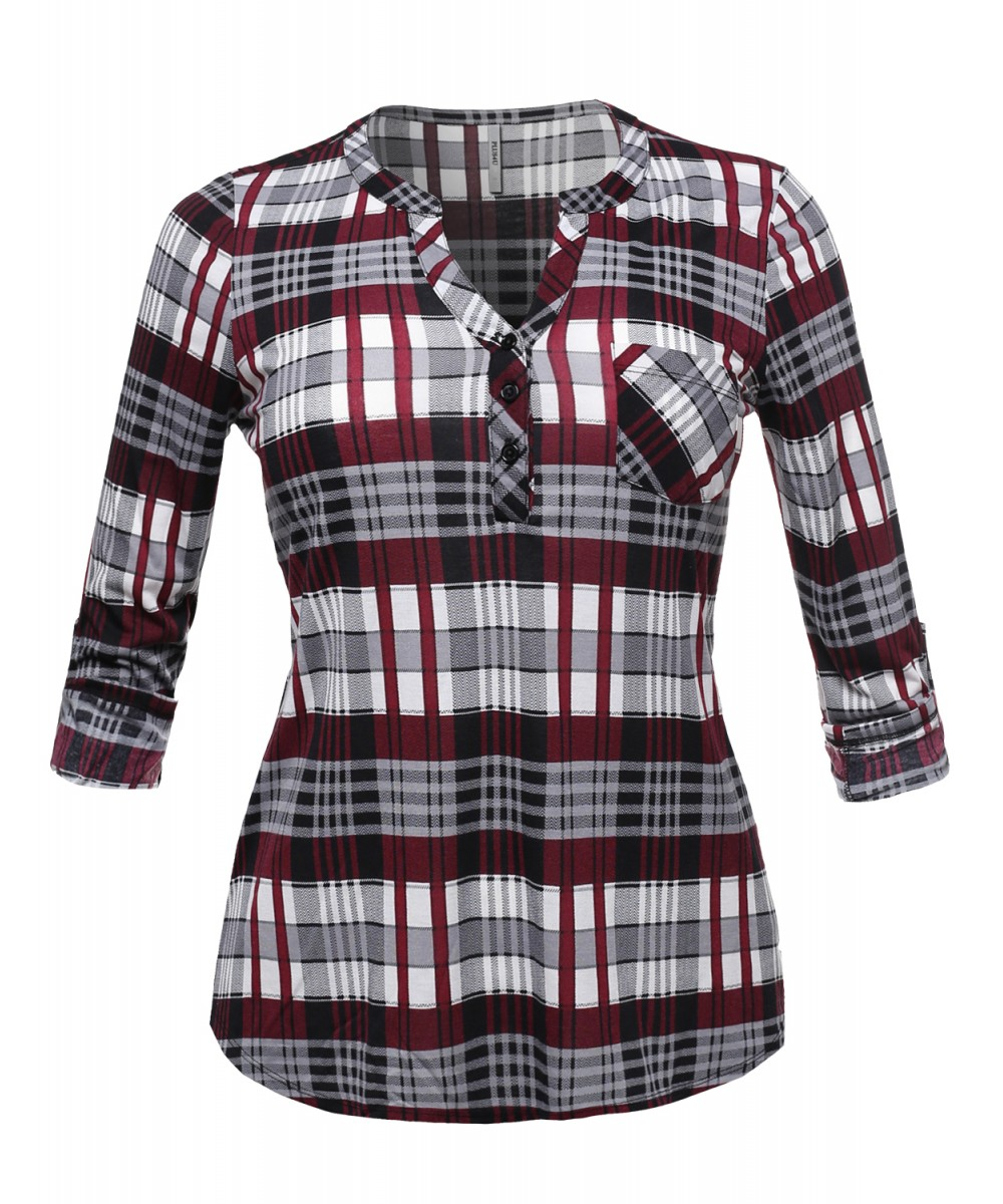 8b265dc4 Women's Half Button Down Plaid Shirt Roll Up Sleeves Mandarin Collar