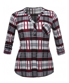 Women's Half Button Down Plaid Shirt Roll Up Sleeves Mandarin Collar