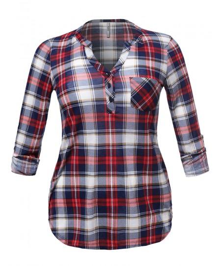 Women's Half Button Down Plaid Shirt Roll Up Sleeves Mandarin Collar