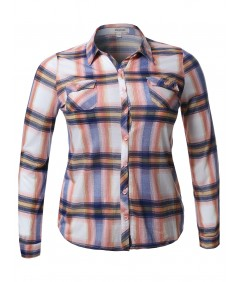 Women's Lightweight Plaid Checker Button Down Shirt Roll Up Sleeves