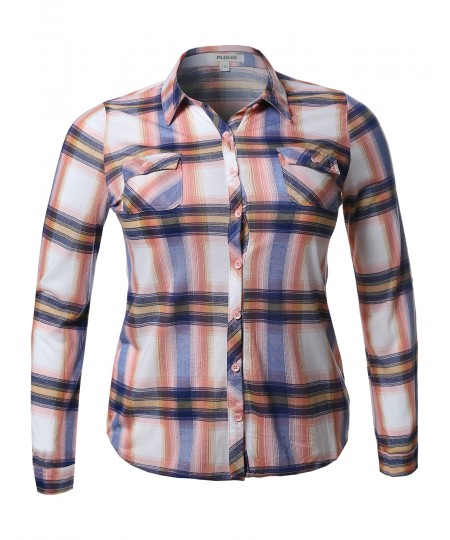 Women's Lightweight Plaid Checker Button Down Shirt Roll Up Sleeves