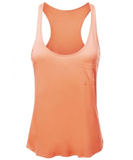 Women's Solid Basic Rayon Sleeveless Racer-Back Tank Top