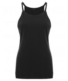 Women's Basic Plus Size High Neck Tank Top