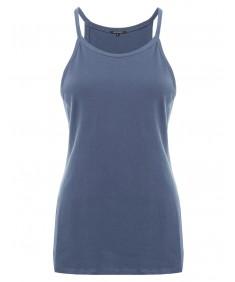 Women's Basic Solid Sleeveless High Crew Neck Plus Size Tank Top