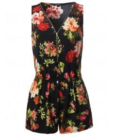 Women's Floral Print Front Zipper Sleeveless Romper