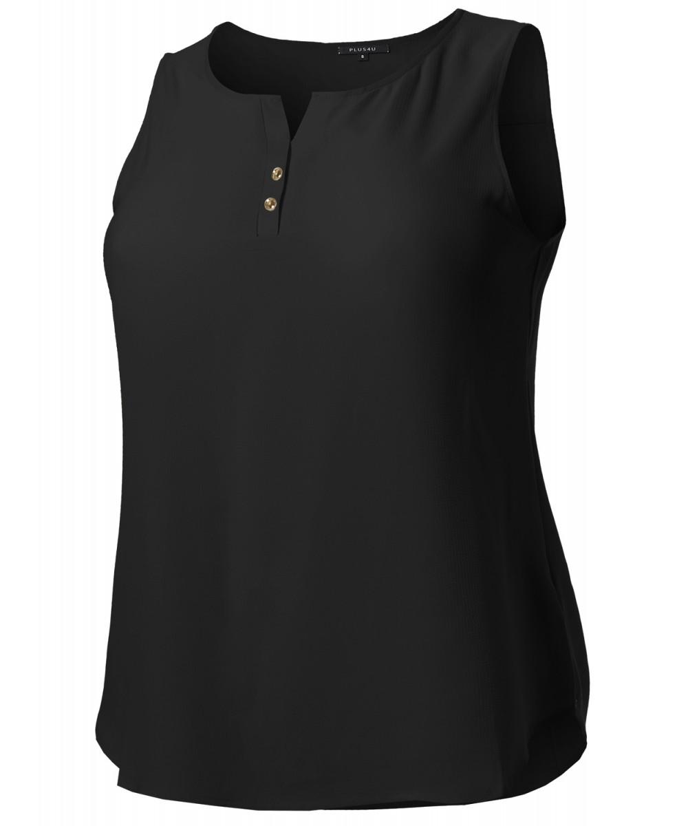 ff359271 Women's Solid Henley Neck Chiffon Blouse Tank Top - FashionOutfit.com