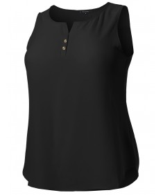 Women's Solid Henley Neck Chiffon Blouse Tank Top