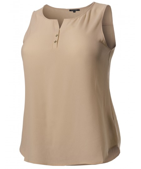 Women's Solid Henley Neck Chiffon Blouse Tank Top